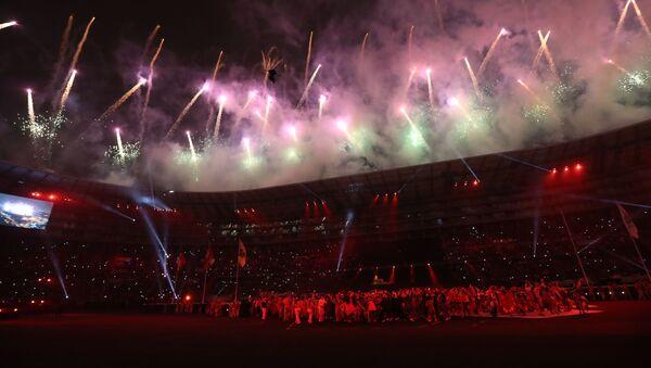 Fuegos artificiales en el Estadio Nacional de Lima (Archivo) - Sputnik Mundo