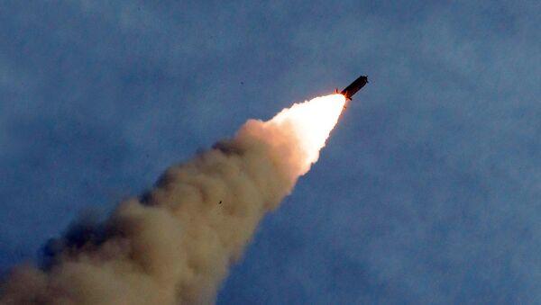 Misil lanzado desde el sistema de lanzamiento múltiple de misiles norcoreano - Sputnik Mundo