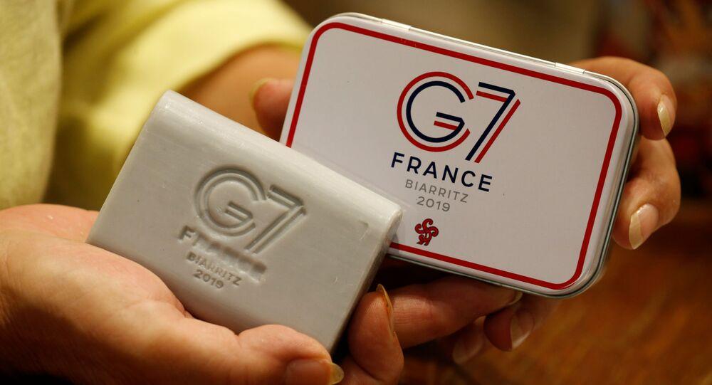 Logo de la cumbre del G7 en Biarritz, Francia