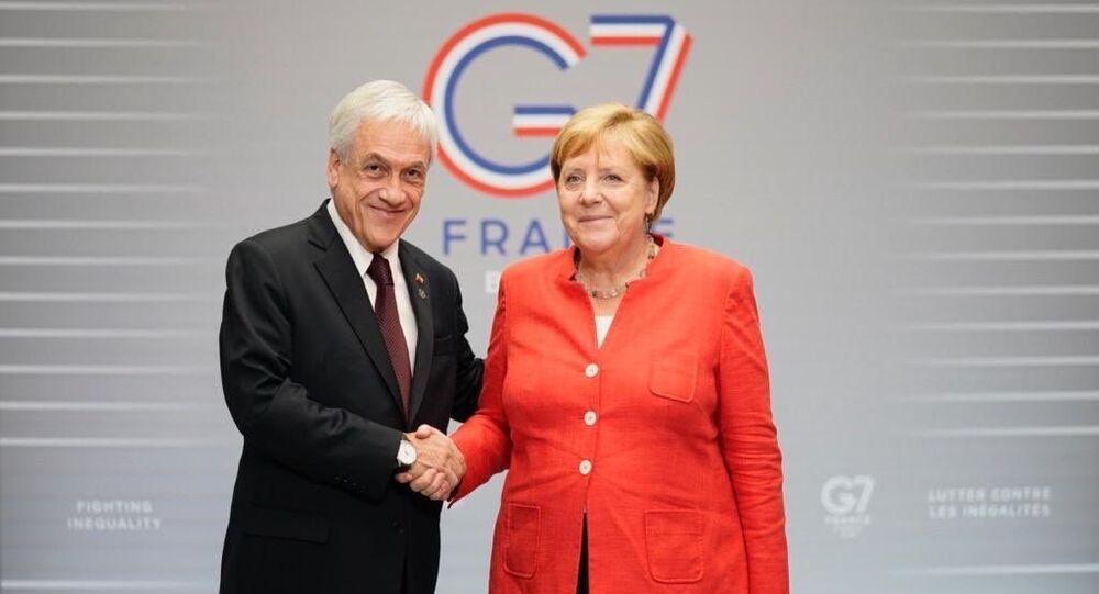 El presidente chileno, Sebastián Piñera, y la canciller de Alemania, Angela Merkel
