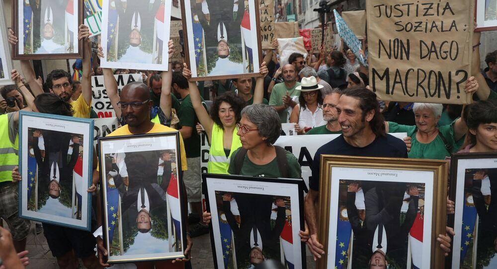 Protestas contra la cumbre del G7 en Bayonne, cerca de Biarritz