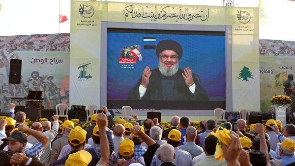 El líder del grupo chií libanés Hizbulá, Hasán Nasralá - Sputnik Mundo