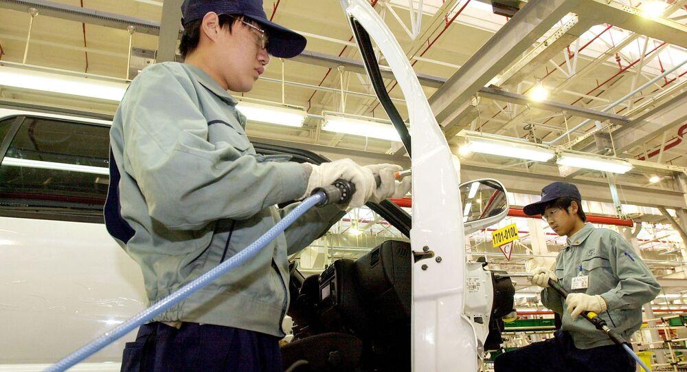Una planta de ensamblaje de General Motors en China