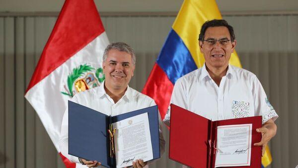 Presidente de Colombia, Iván Duque, y presidente de Perú, Martín Vizcarra - Sputnik Mundo