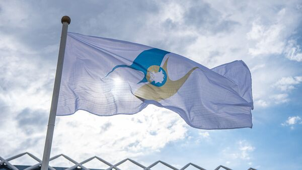 La bandera de la Unión Económica Euroasiática - Sputnik Mundo