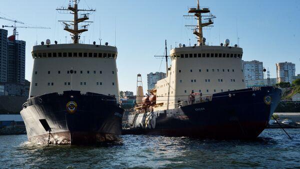 Dos rompehielos de la empresa rusa FESCO en el puerto de Vladivostok  - Sputnik Mundo
