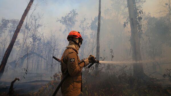 Un bombero apaga incendios en Amazonía - Sputnik Mundo