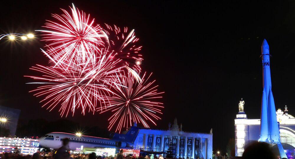 Espectáculo de fuegos artificiales en Moscú