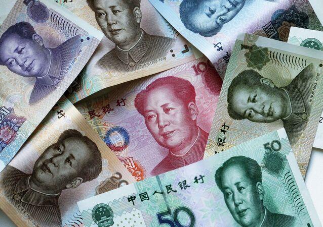 Billetes de yuanes, moneda china