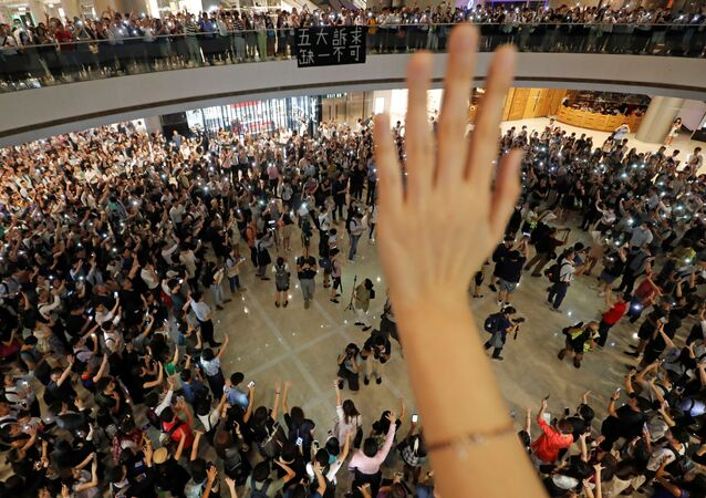 Protestas en el 'International Finance Centre' en Hong Kong
