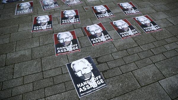 Los carteles en apoyo del fundador de WikiLeaks, Julian Assange - Sputnik Mundo