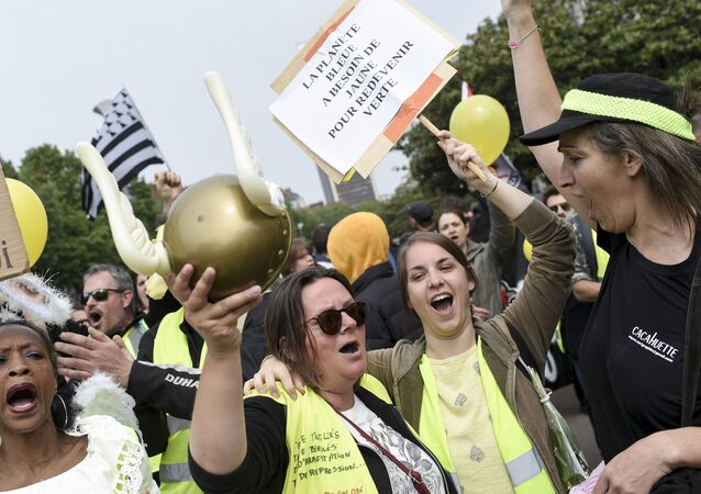 Manifestantes con chalecos amarillos sostienen pancartas en Nantes