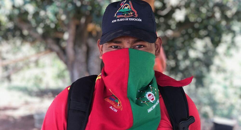 Kiwe Tjexnas, que en idioma nasa significa 'cuidador del territorio', uno de los activistas