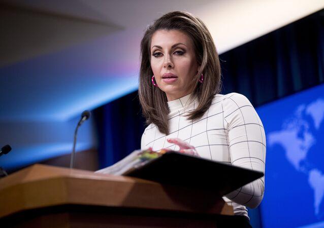 Morgan Ortagus, portavoz del Departamento de Estado de EEUU