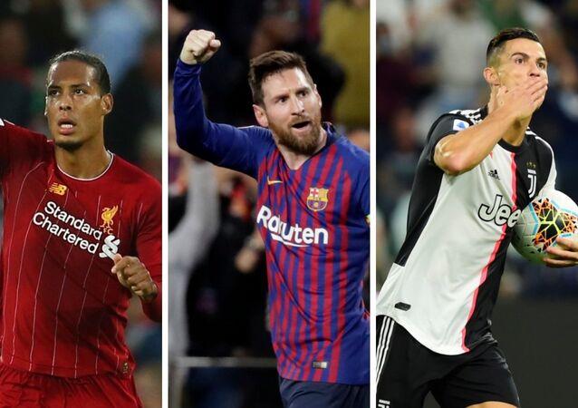 De izquierda a derecha: Virgil van Dijk, Lionel Messi, Cristiano Ronaldo