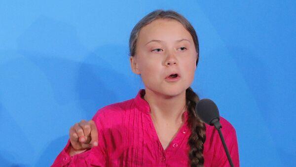 Greta Thunberg durante su discurso en la Cumbre de Acción Climática de la ONU - Sputnik Mundo