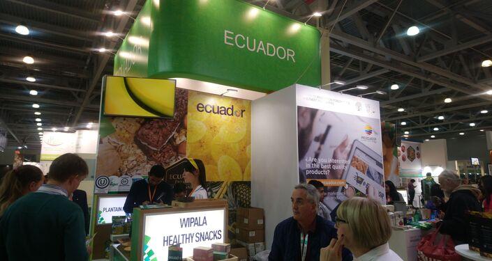El stand de Ecuador en la feria WorldFood en Moscú, Rusia