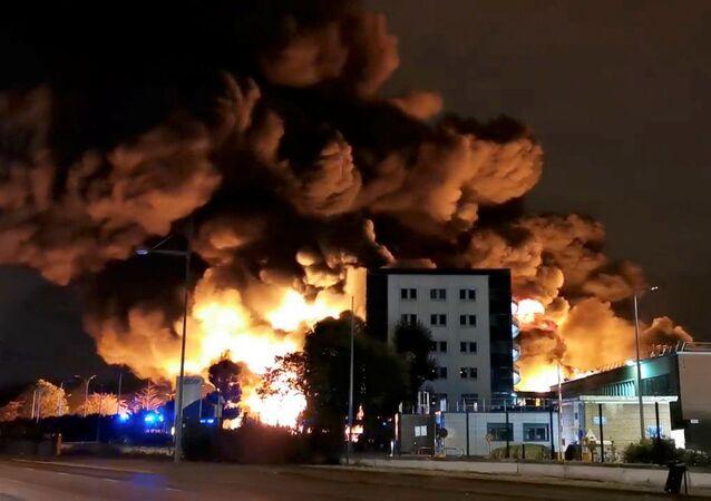 Incendio en una planta de lubricantes del norte de Francia