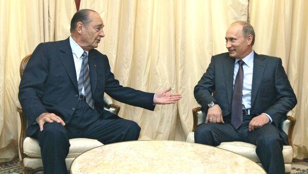 El extpresidente de Francia Jacques Chirac y el presidente de Rusia, Vladímir Putin (archivo) - Sputnik Mundo
