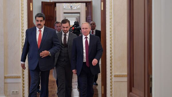 El presidente de Venezuela, Nicolás Maduro junto al presidente de Rusia, Vladímir Putin - Sputnik Mundo