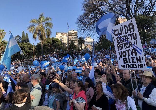 Acto de campaña de Macri en Buenos Aires, Argentina