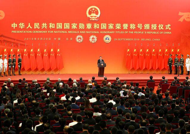 Ceremonia de entrega de Medallas de la Amistad en el Gran Palacio del Pueblo de Pekín, China
