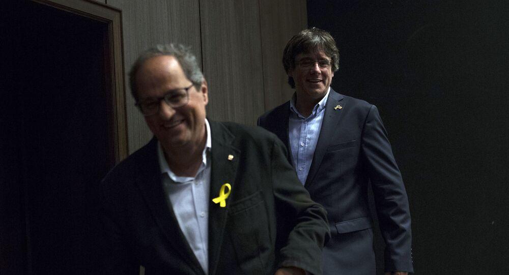 Carles Puigdemont y Quim Torra tras una reunión con Junts Per Catalunya en Bruselas el miércoles 5 de septiembre de 2018