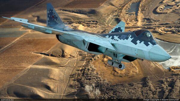 Caza ruso Su-57 con un dispositivo de designación de blancos - Sputnik Mundo