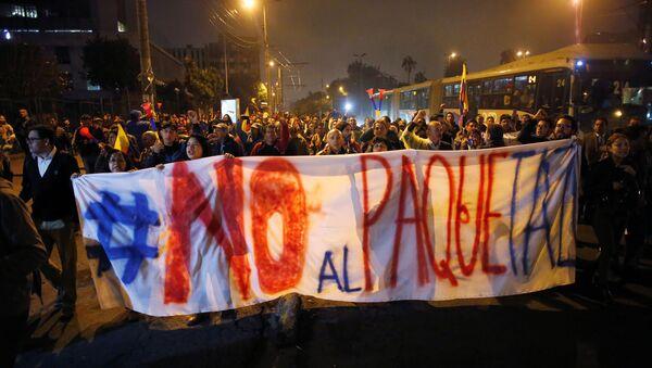Protestas contra el presidente Lenín Moreno en Ecuador - Sputnik Mundo