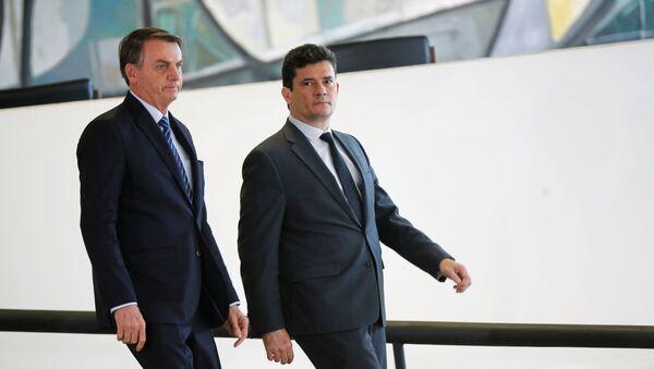 El ministro de Justicia y Seguridad Pública de Brasil, Sérgio Moro y el presidente brasileño, Jair Bolsonaro - Sputnik Mundo