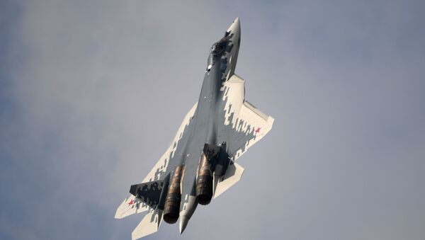 Un Su-57 con el camuflaje pixelado de colores blanco, azul y gris - Sputnik Mundo