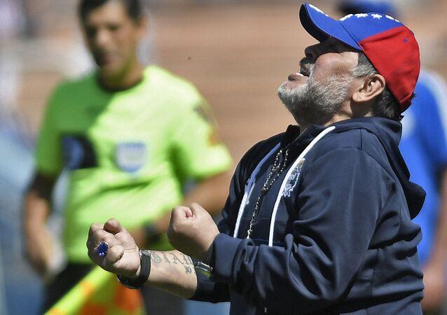 Diego Maradona, ex futbolista argentino y entrenador de Gimnasia y Esgrima La Plata