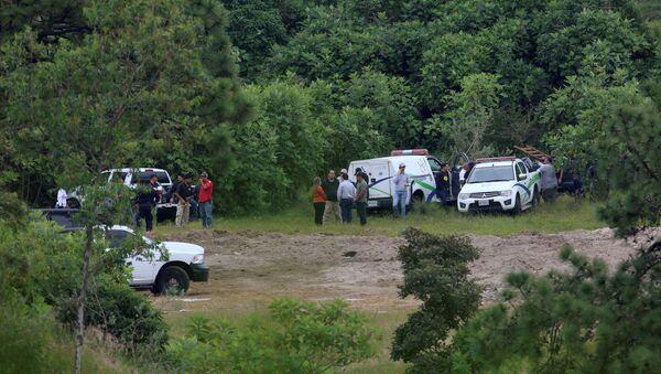 Forenses y policías en el terreno de Zapopan, Guadalajara, donde se encontraron cientos de restos humanos - Sputnik Mundo