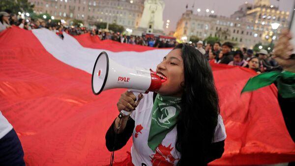 Una manifestación en apoyo de Martín Vizcarra tras la disolución del Congreso de Perú - Sputnik Mundo