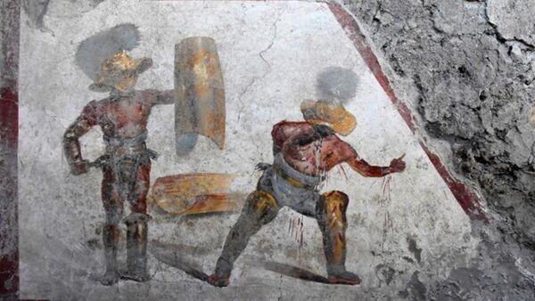 Fresco de los gladiadores encontrado en Pompeya - Sputnik Mundo