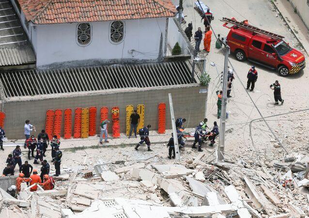 El edificio derrumbado en Fortaleza, Brasil