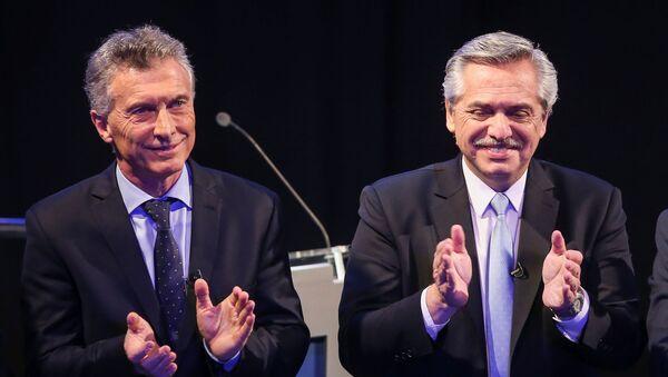 El presidente argentino Mauricio Macri y el candidato opositor Alberto Fernández - Sputnik Mundo