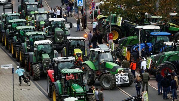 Agricultores participan en una protesta contra las políticas agrícolas alemanas en la ciudad de Bonn - Sputnik Mundo