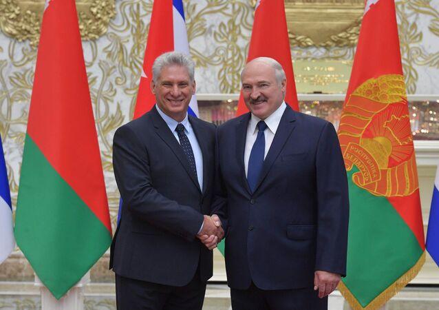 El presidente de Cuba, Miguel Díaz-Canel, y el presidente de Bielorrusia, Alexandr Lukashenko