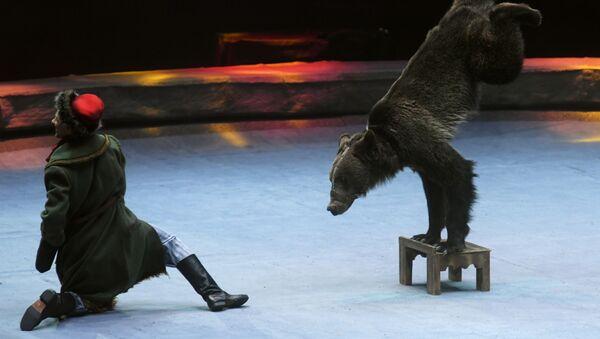Un domador con un oso, imagen referencial - Sputnik Mundo