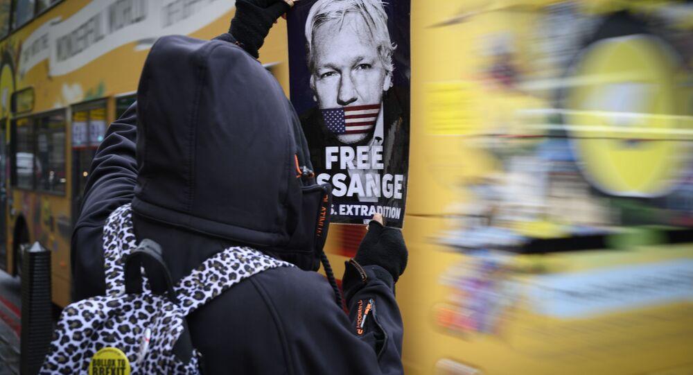 Protesta contra la extradición de Assange en Londres