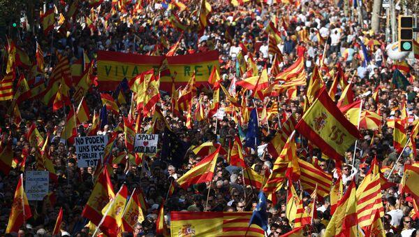 Las protestas antindependencia en Barcelona  - Sputnik Mundo