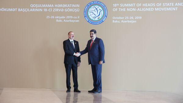 Ilham Aliyev, presidente de Azerbaiyán, junto al presidente de Venezuela, Nicolás Maduro - Sputnik Mundo