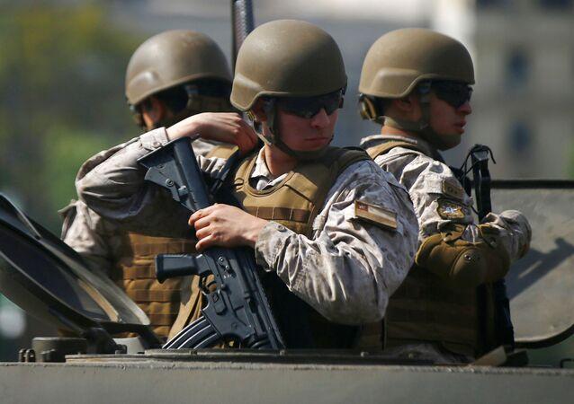 Militares chilenos en Santiago