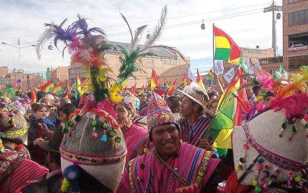 Manifestación en apoyo de Evo Morales en El Alto - Sputnik Mundo