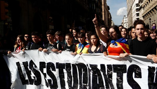 Una huelga de estudiantes en Barcelona (archivo) - Sputnik Mundo
