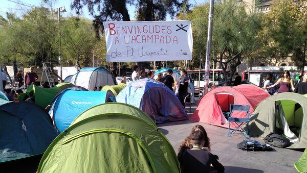 Acampada de protesta en Barcelona - Sputnik Mundo