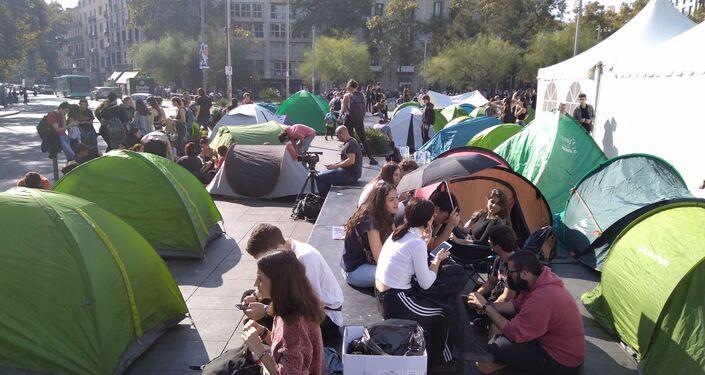 Acampada de protesta en Barcelona