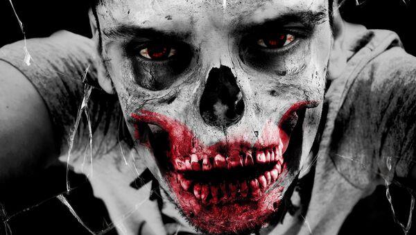 Un hombre maquillado como un zombie - Sputnik Mundo