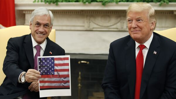 Sebastián Piñera, presidente de Chile, y Donald Trump, presidente de EEUU, en Washington, 28 de septiembre de 2018 - Sputnik Mundo